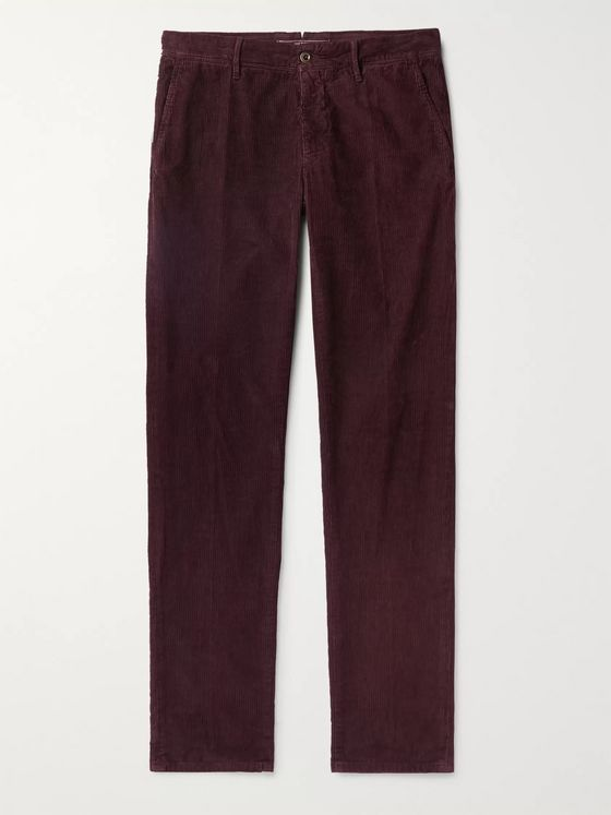 Incotex Blue Slim-Fit Stretch Cotton-Corduroy Trousers