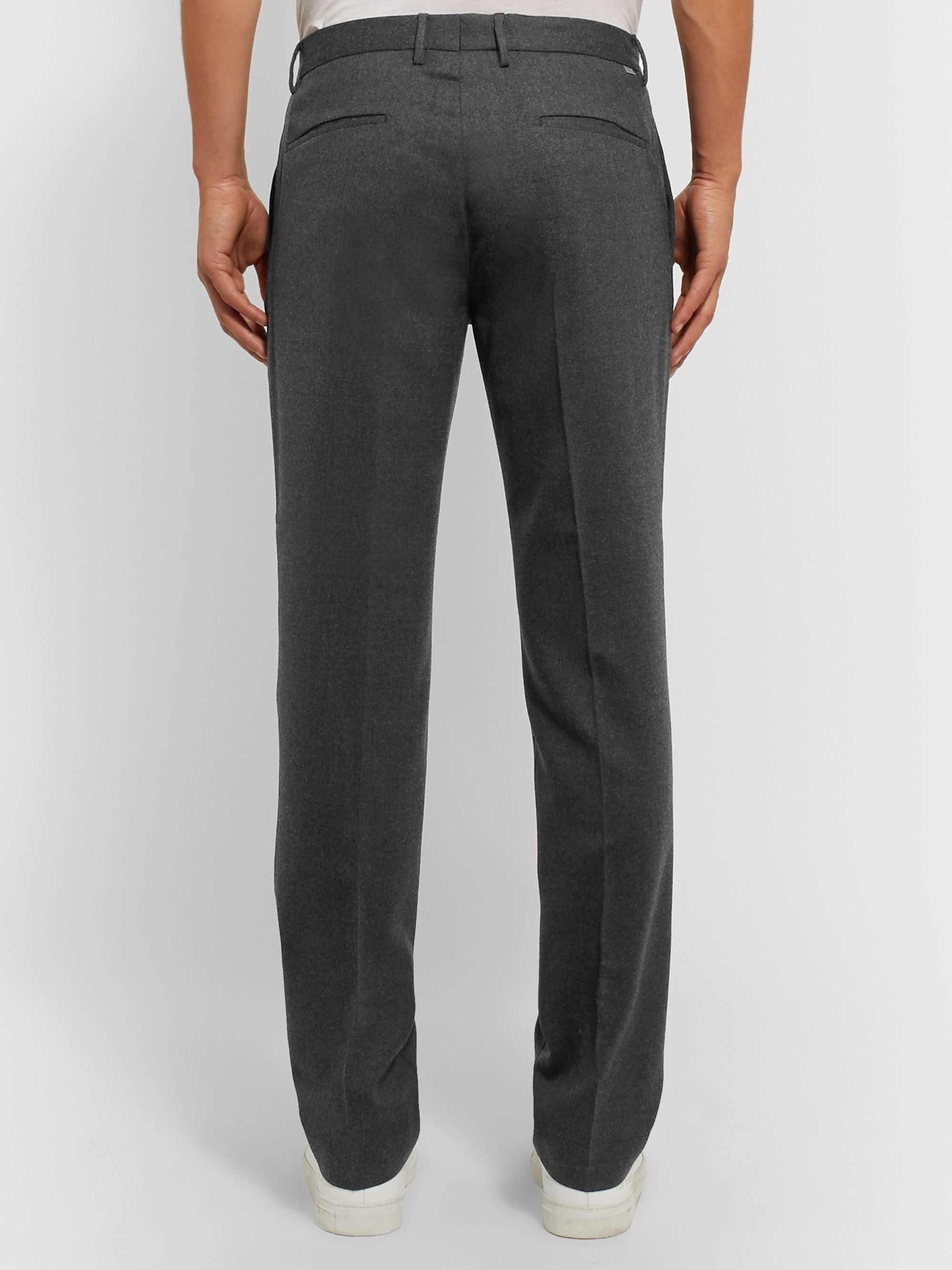 Incotex Navy Slim-Fit Wool-Blend Flannel Trousers