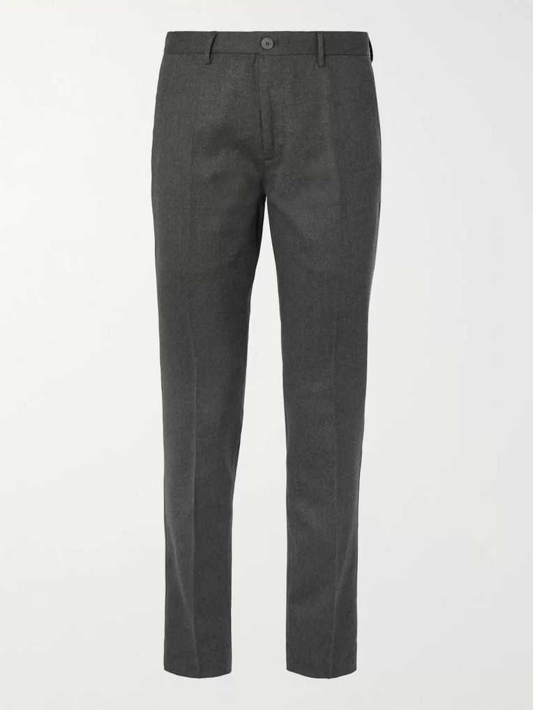 Incotex Charcoal Slim-Fit Wool-Blend Flannel Trousers