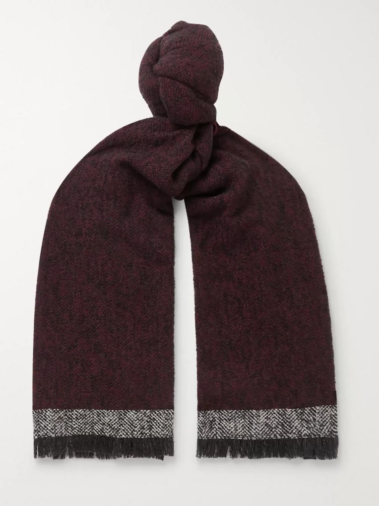 Incotex Herringbone Virgin Wool-Blend Fringed Scarf