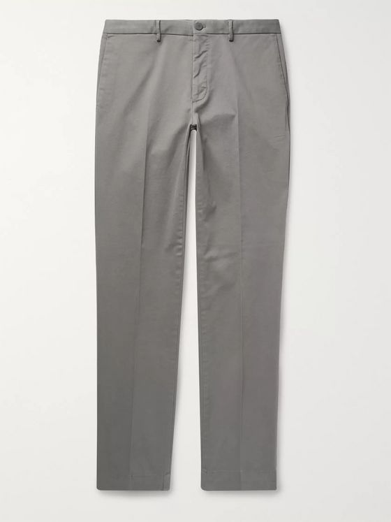 Incotex Anthracite Slim-Fit Stretch-Cotton Twill Trousers