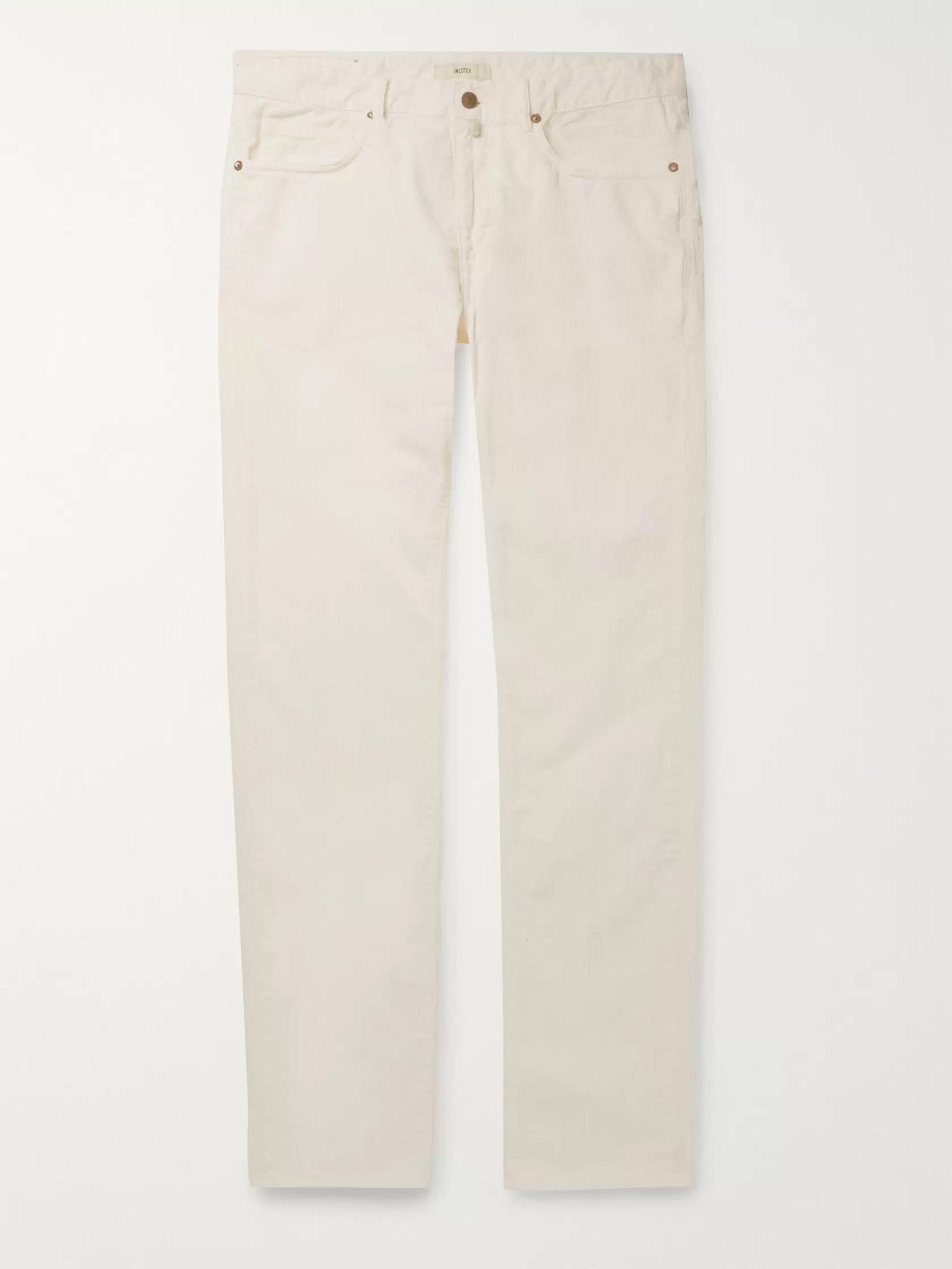 Slim Fit Cotton Blend Corduroy Trousers by Incotex