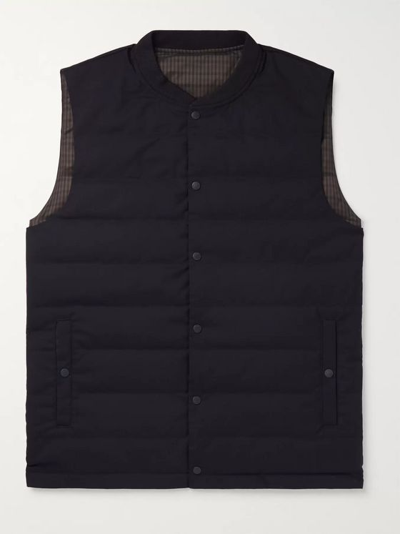 Incotex + Nanamica Slim-Fit Reversible Checked Shell and Wool-Blend Quilted Down Gilet