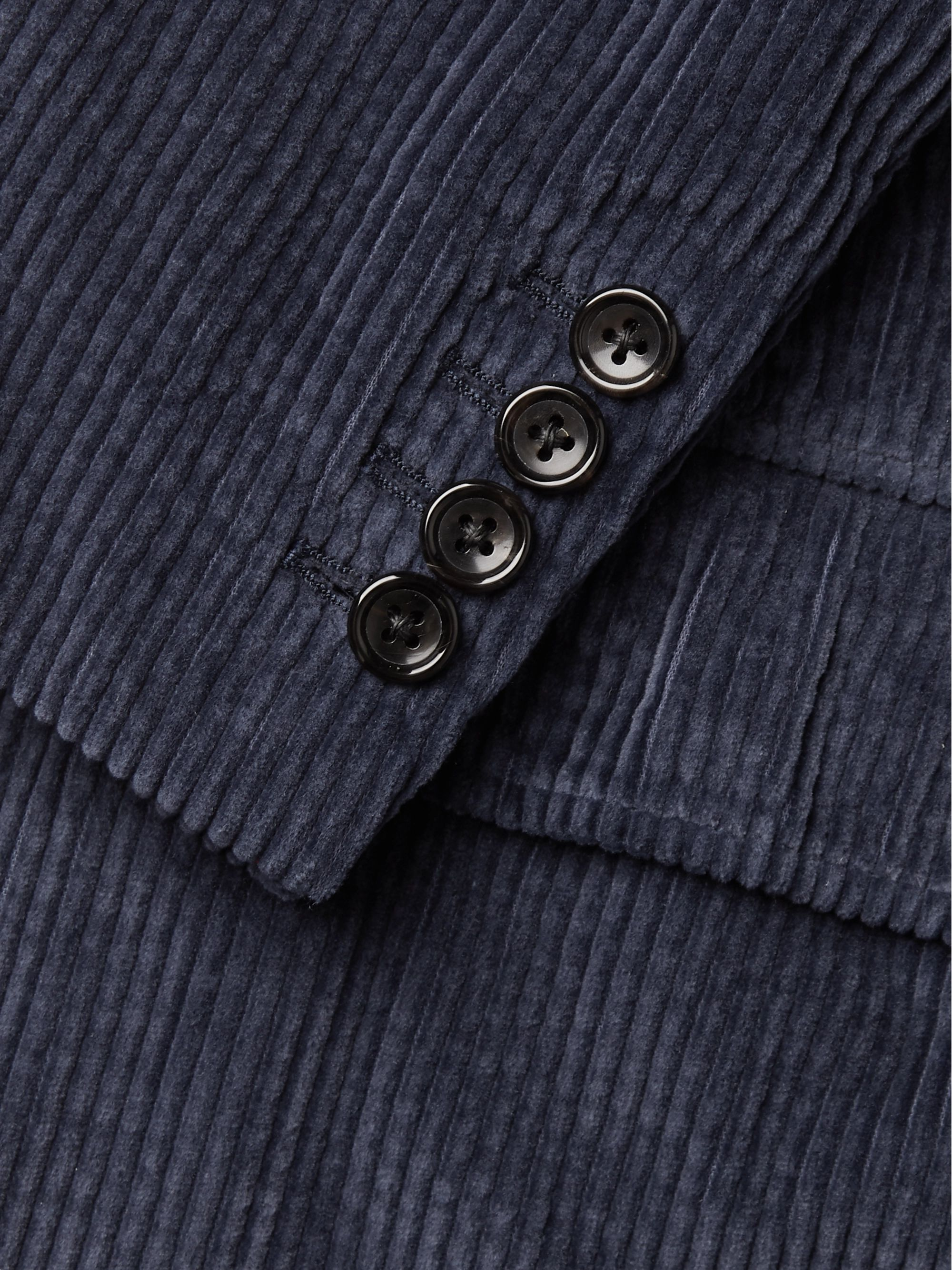 Thom Browne Navy Slim-Fit Unstructured Garment-Dyed Cotton-Corduroy Suit Jacket