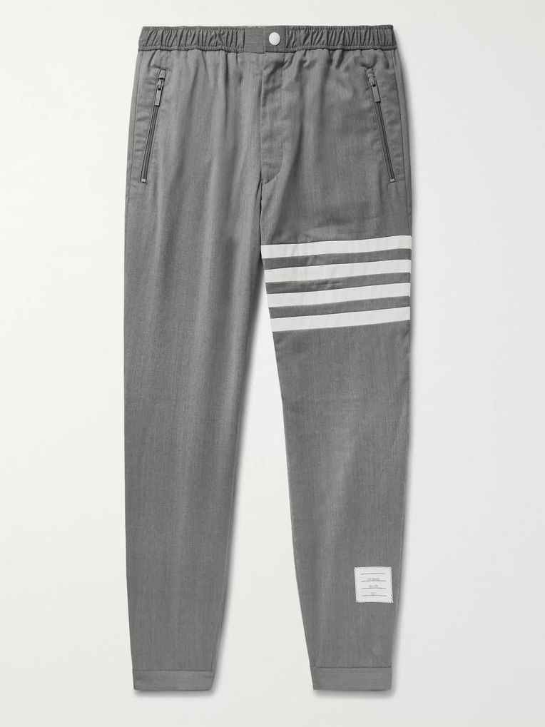 Thom Browne Grey Slim-Fit Striped Wool Trousers