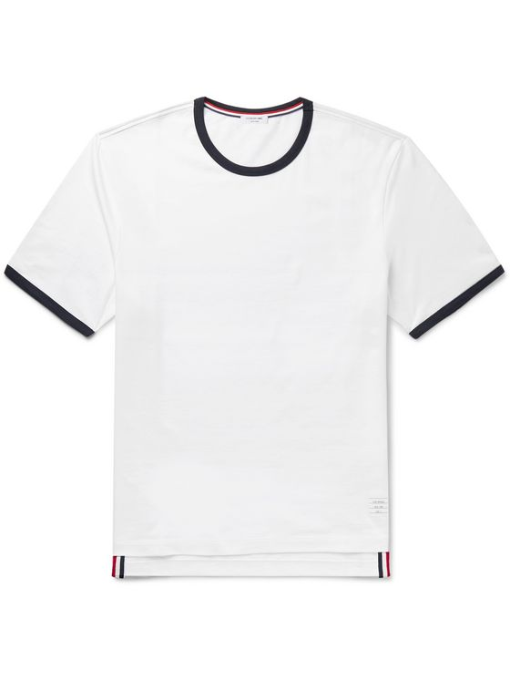Thom Browne Contrast-Tipped Cotton-Jersey T-Shirt