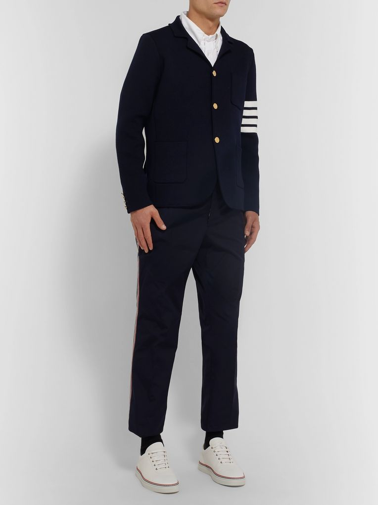 Thom Browne Midnight-Blue Unstructured Striped Wool Blazer