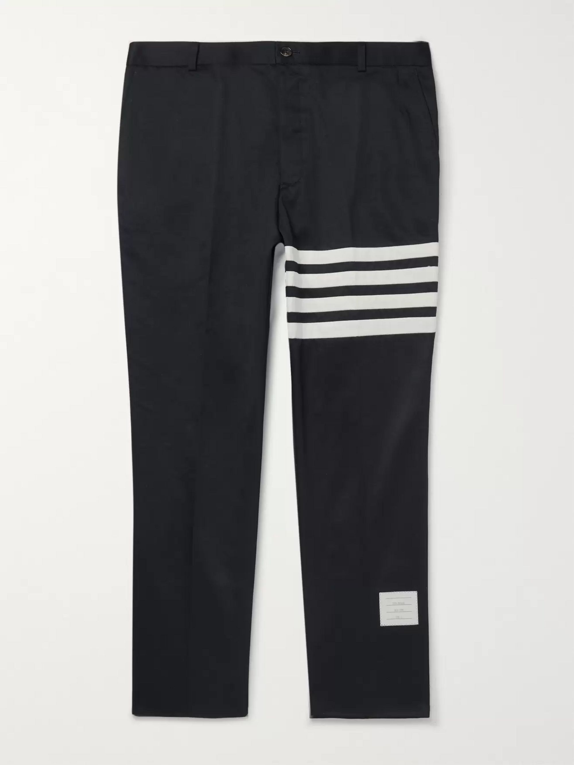 Thom Browne Navy Slim-Fit Cropped Striped Cotton-Twill Trousers