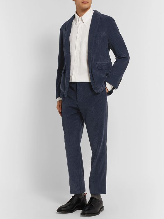 Thom Browne Navy Slim-Fit Cropped Garment-Dyed Cotton-Corduroy Trousers