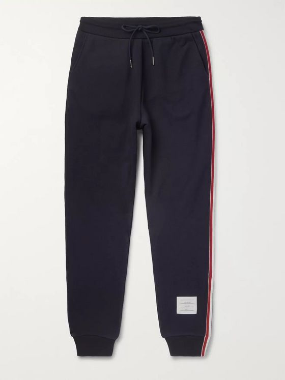 Thom Browne Slim-Fit Grosgrain-Trimmed Loopback Cotton-Jersey Sweatpants
