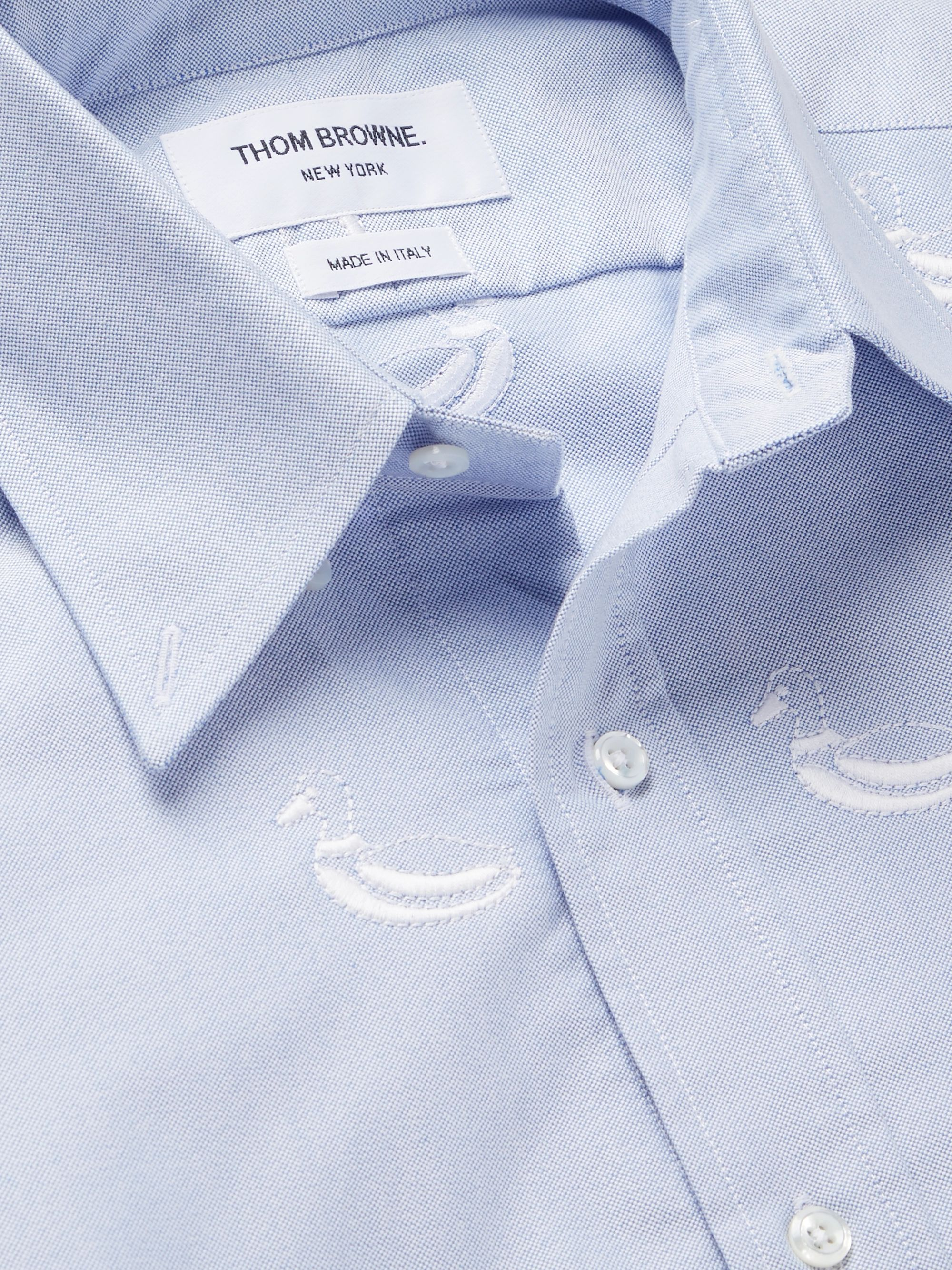 Thom Browne Button-Down Collar Embroidered Cotton Oxford Shirt