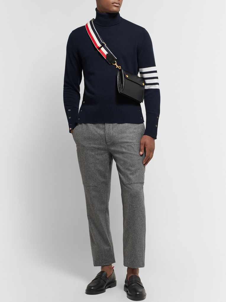 Thom Browne Slim-Fit Striped Cashmere Rollneck Sweater