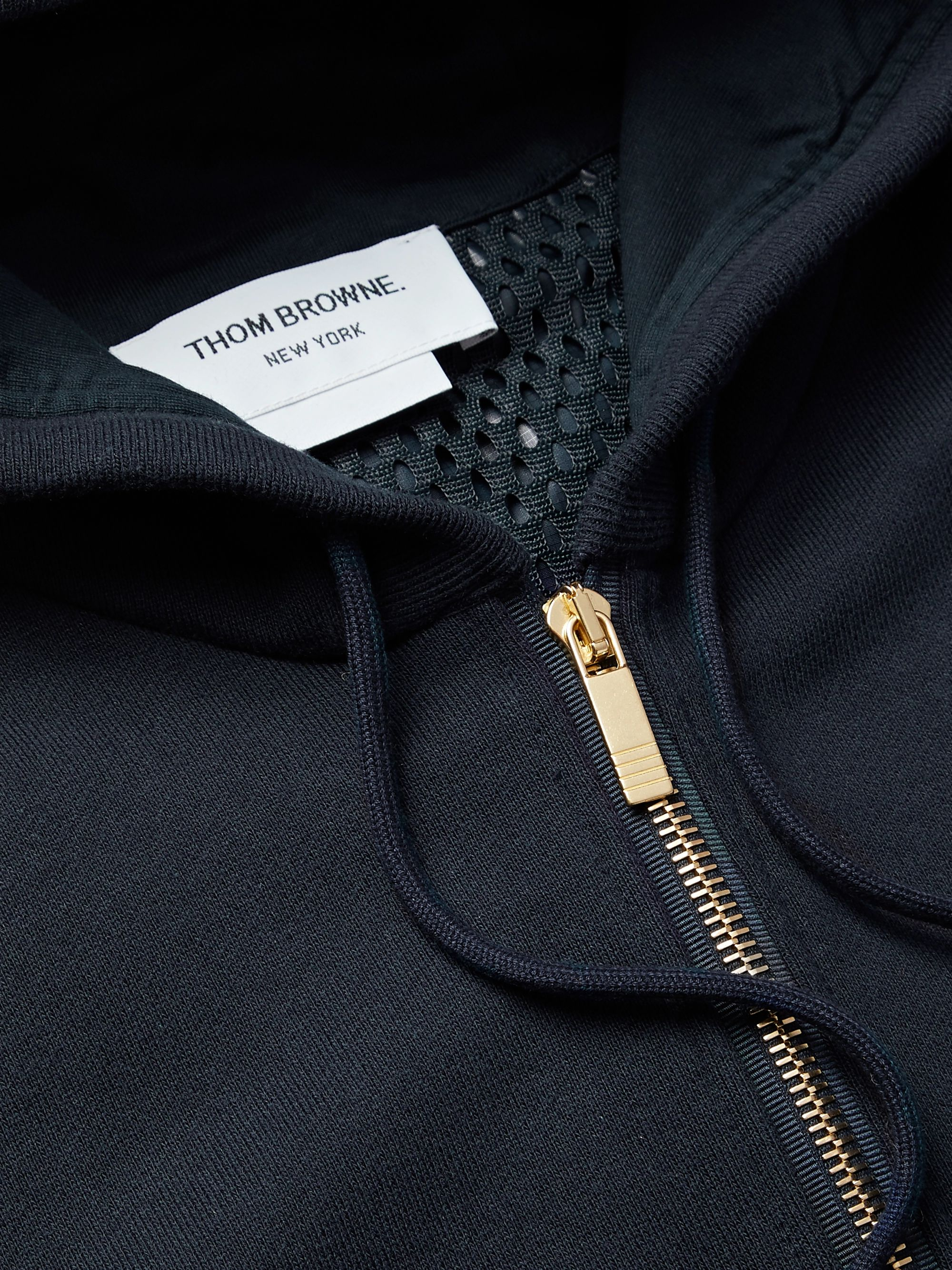Thom Browne Panelled Striped Loopback Cotton-Jersey and Ripstop Zip-Up Hoodie