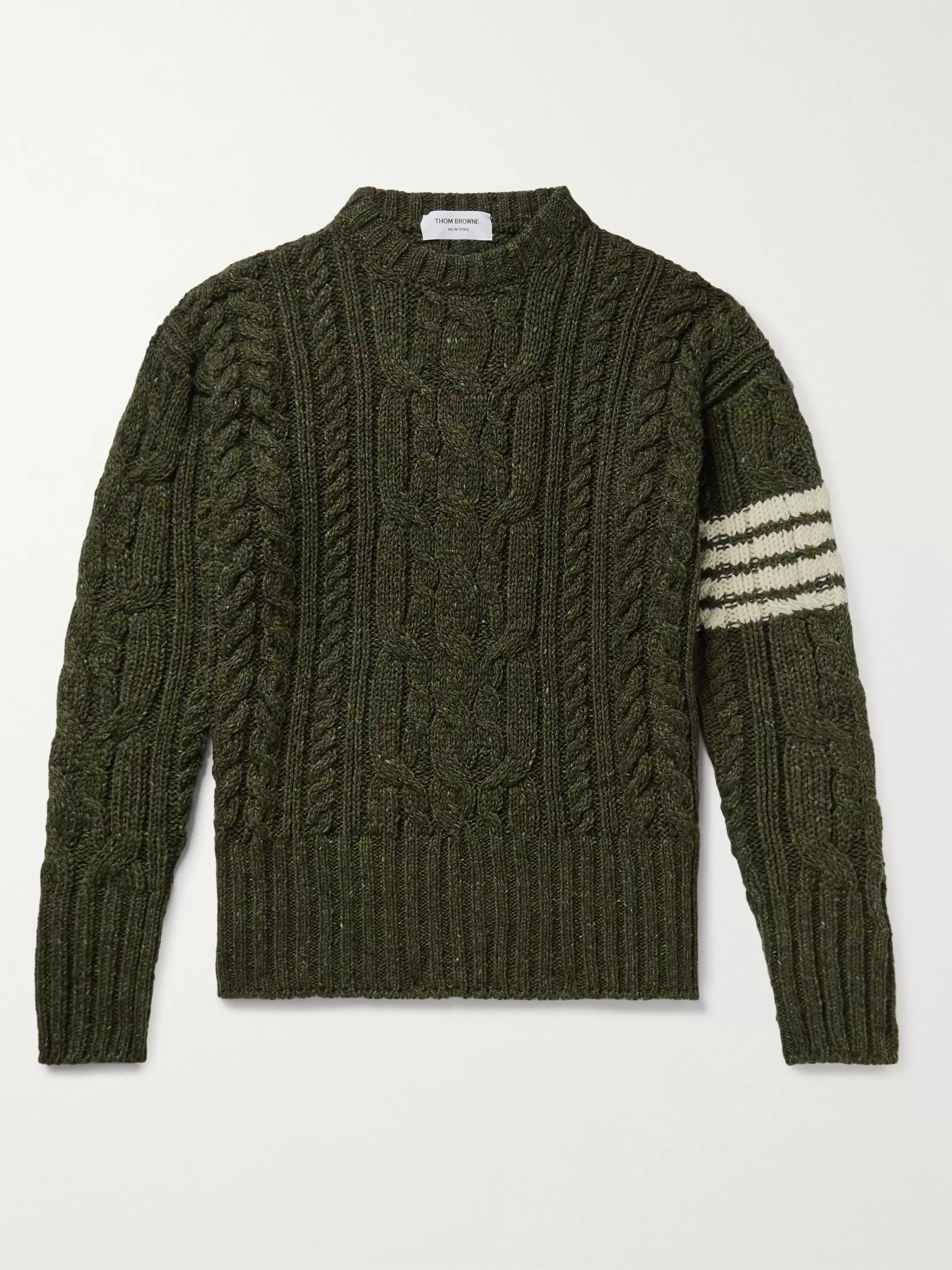 Thom Browne Slim-Fit Striped Cable-Knit Wool and Mohair-Blend Sweater
