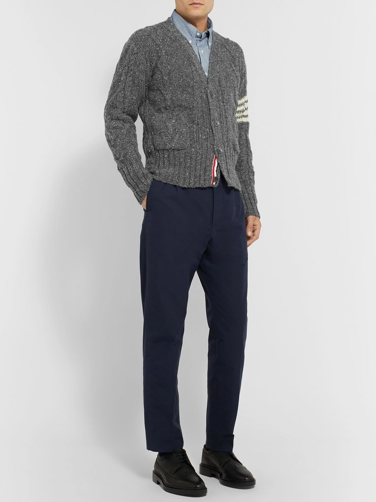 Thom Browne Grosgrain-Trimmed Striped Cable-Knit Wool and Mohair-Blend Cardigan