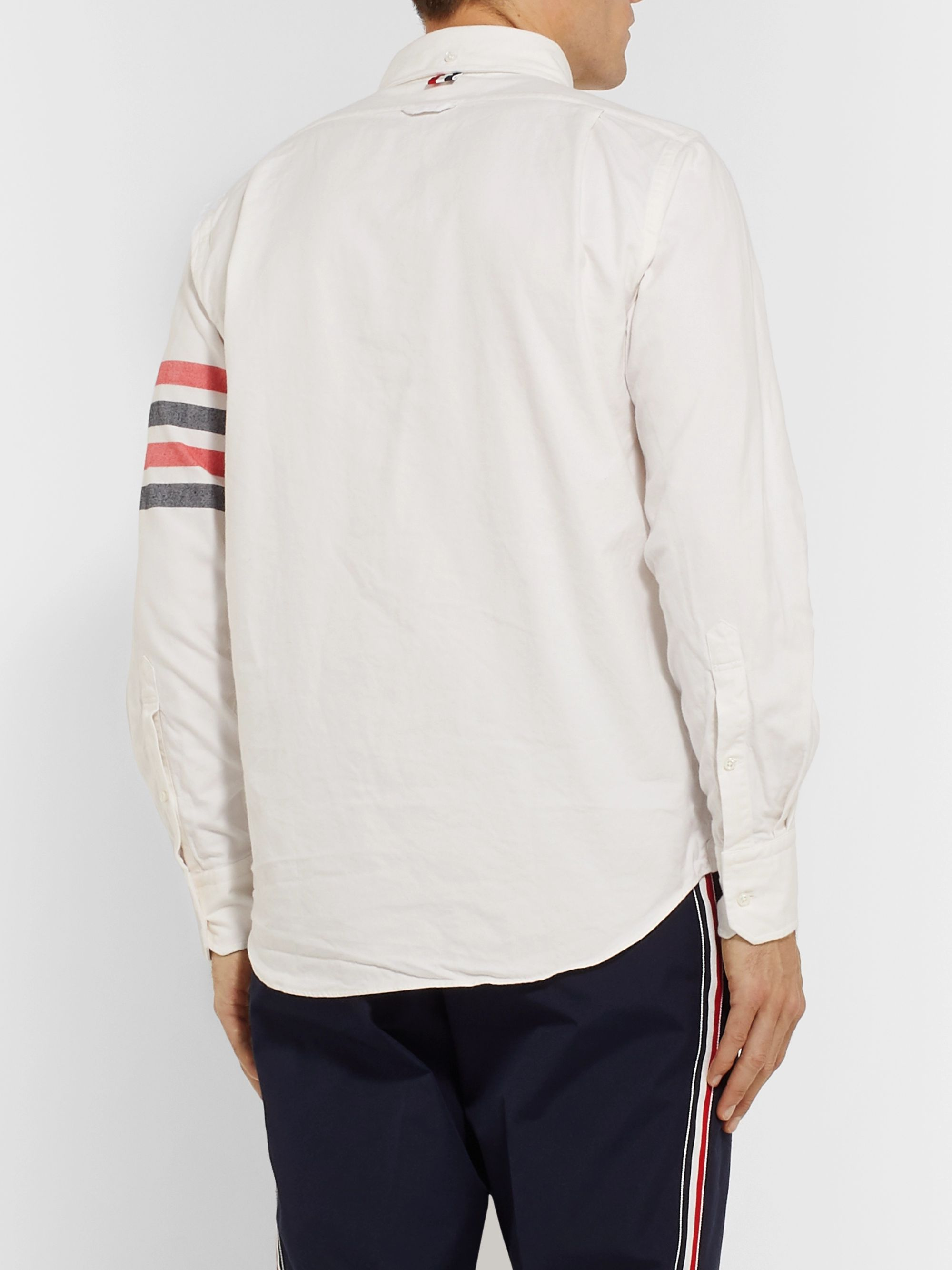 Thom Browne Button-Down Collar Striped Cotton-Flannel Shirt