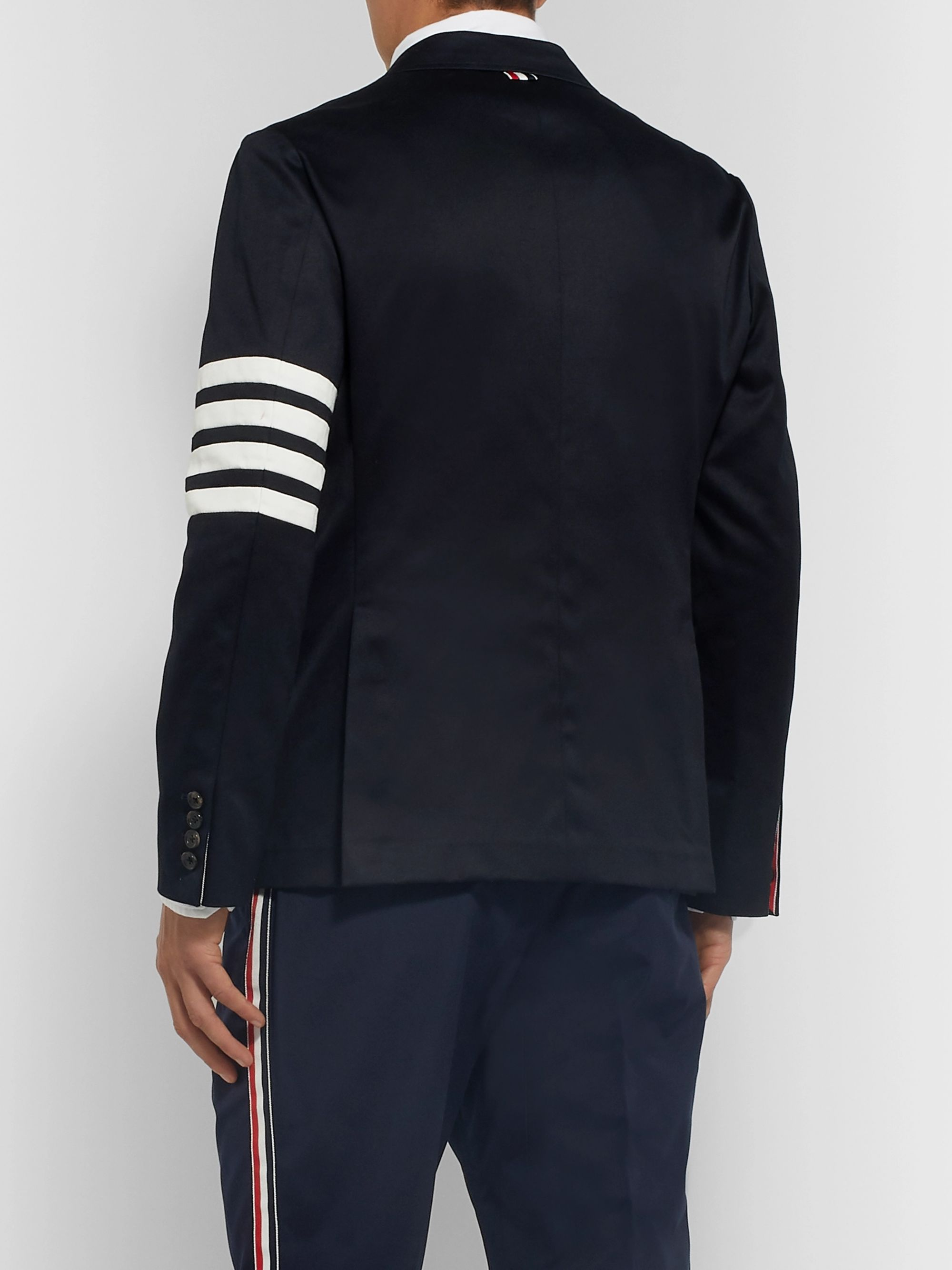 Thom Browne Midnight-Blue Slim-Fit Unstructured Striped Cotton-Twill Blazer