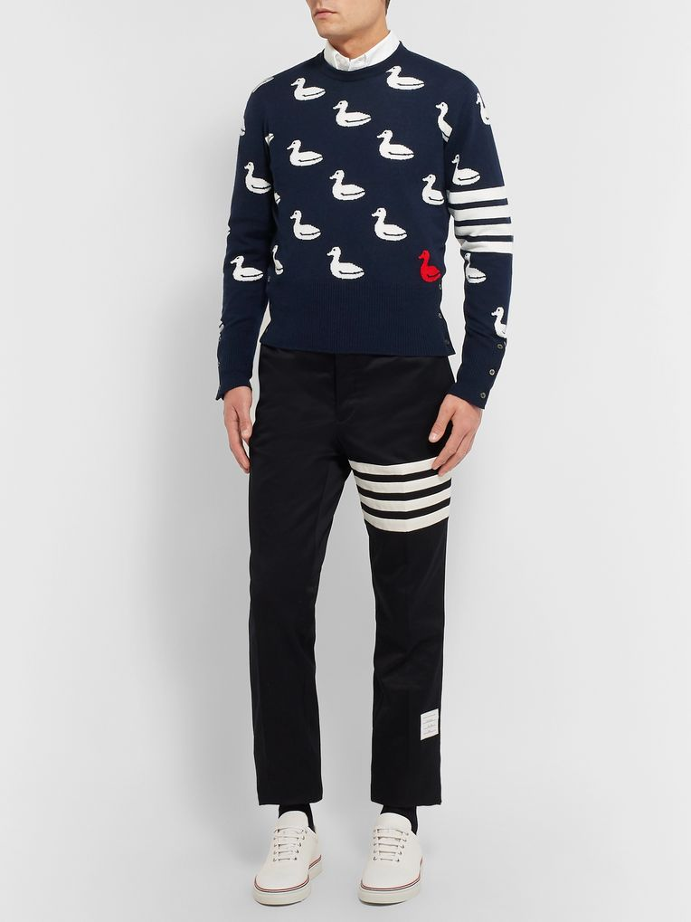 Thom Browne Slim-Fit Intarsia Cashmere and Cotton-Blend Sweater