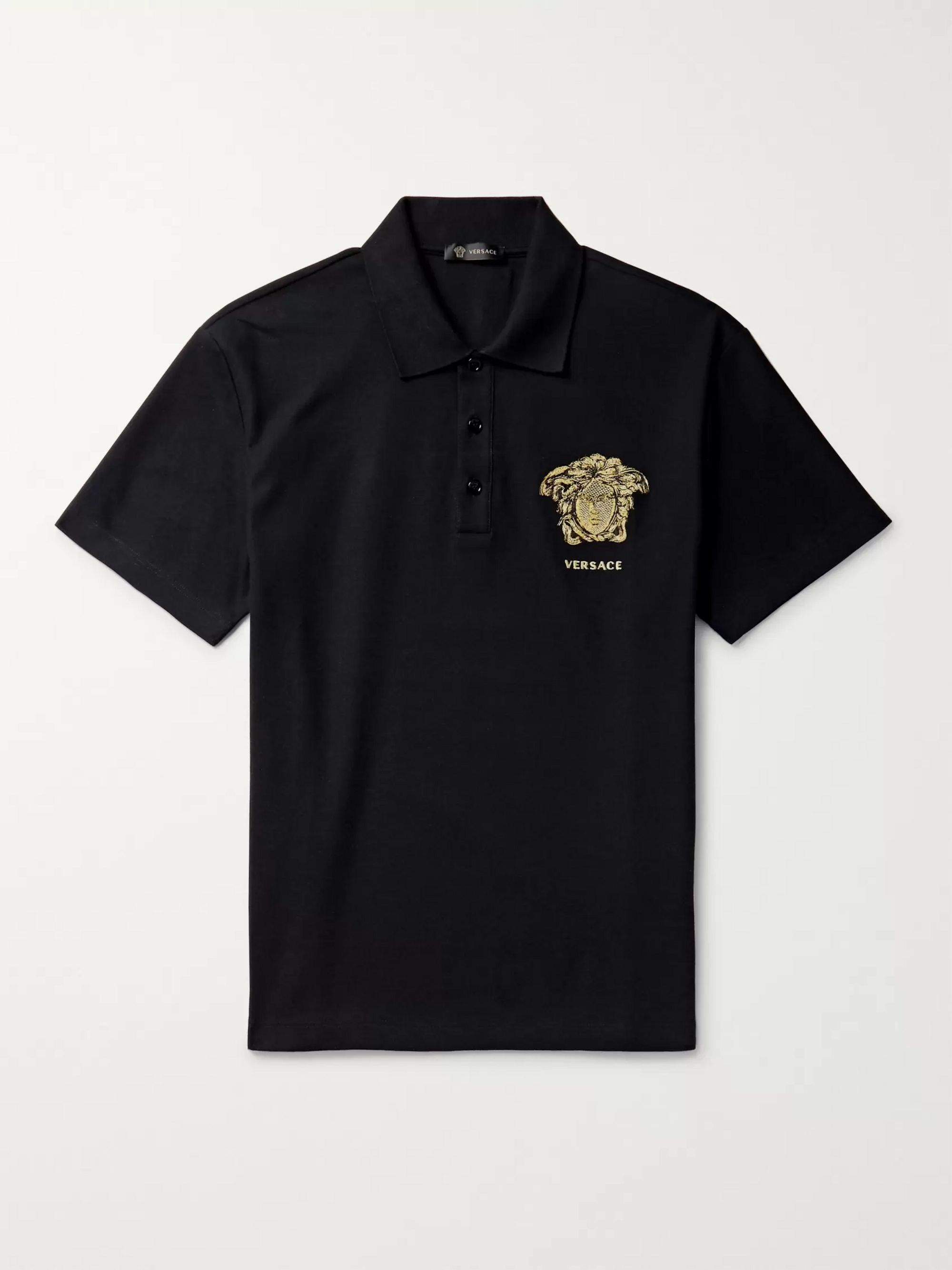 Versace Logo-Embroidered Cotton-Piqué Polo Shirt
