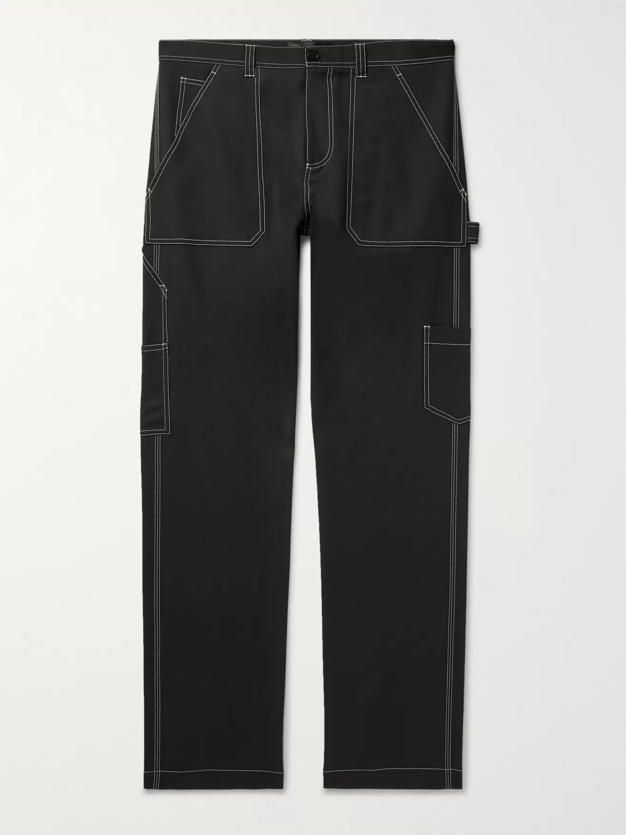 Versace Contrast-Stitched Wool-Blend Trousers