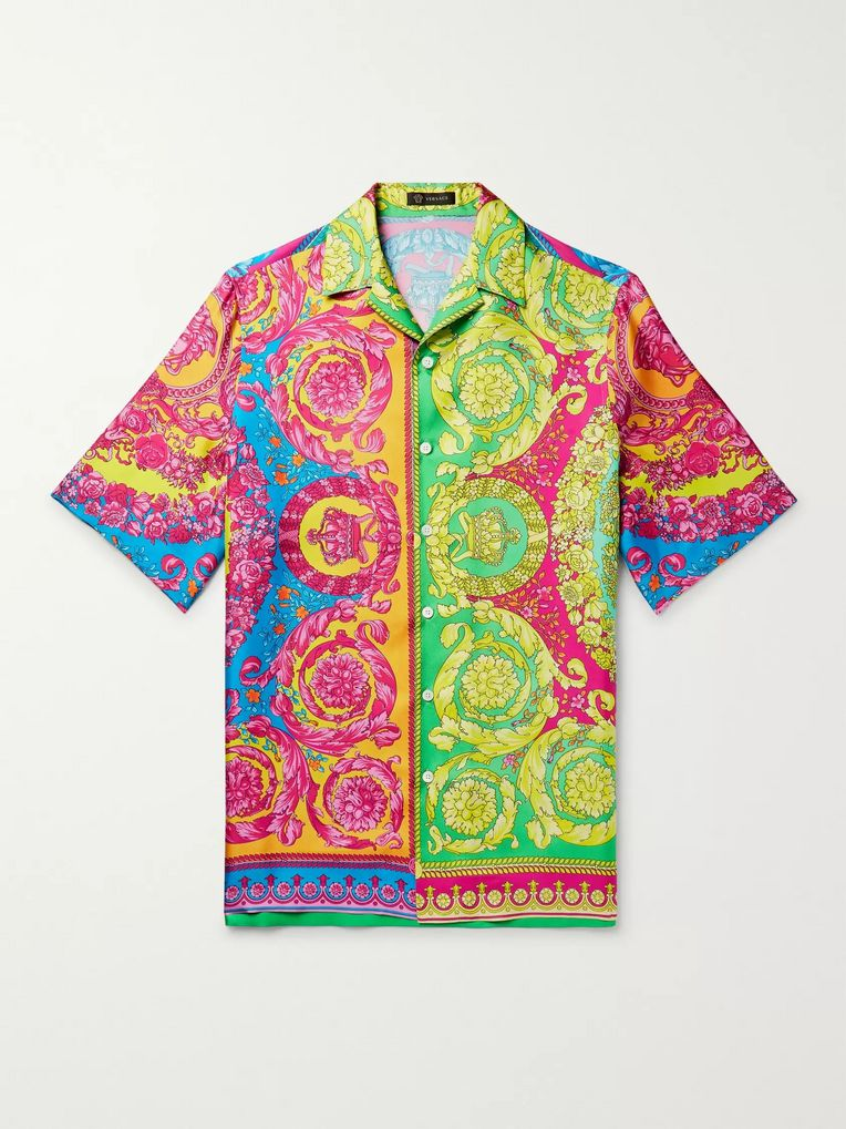 Versace Oversized Camp-Collar Printed Silk-Twill Shirt