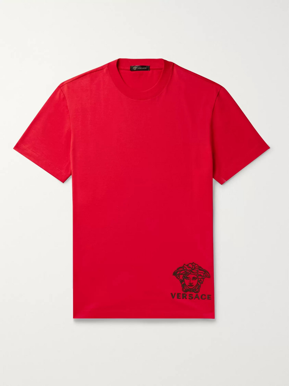 Versace Logo-Embroidered Cotton-Jersey T-Shirt