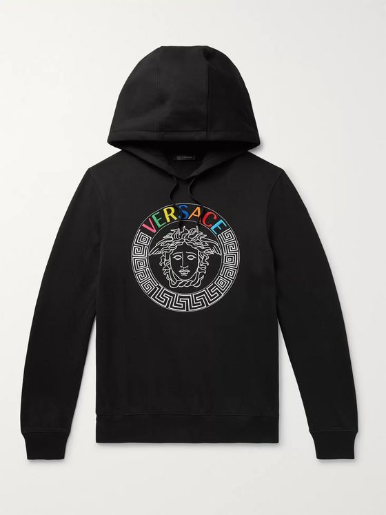 Versace Logo-Detailed Loopback Cotton-Jersey Hoodie