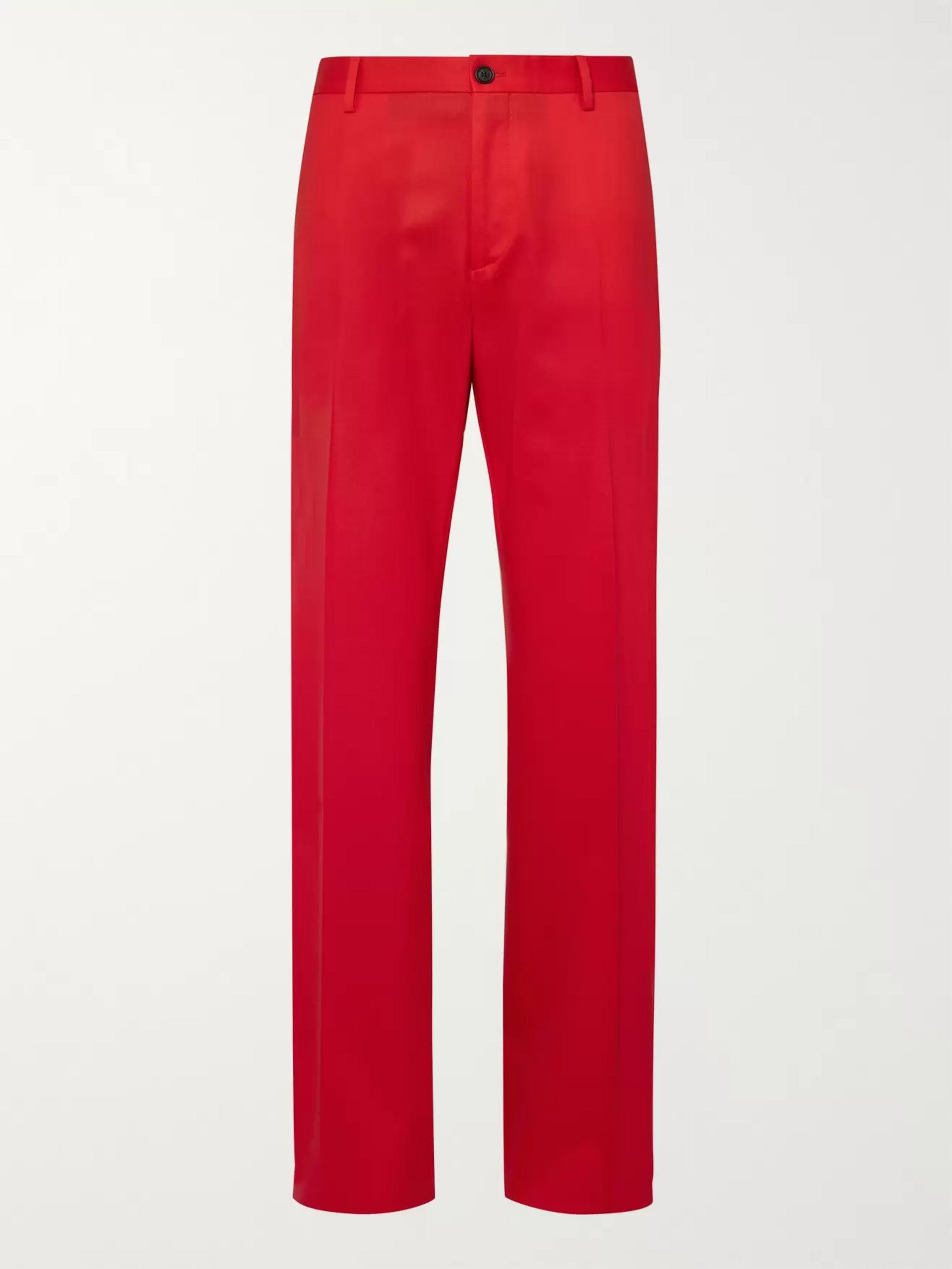 Versace Red Stretch-Wool Twill Suit Trousers