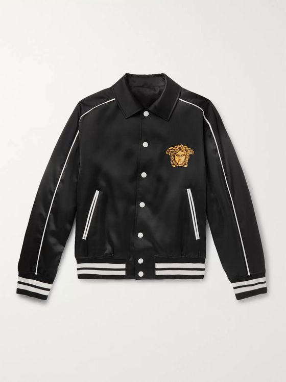 Versace Logo-Embroidered Satin Bomber Jacket