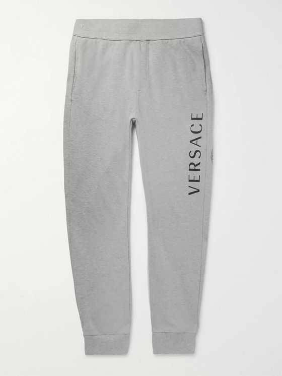Versace Slim-Fit Tapered Logo-Print Mélange Loopback Cotton-Jersey Sweatpants