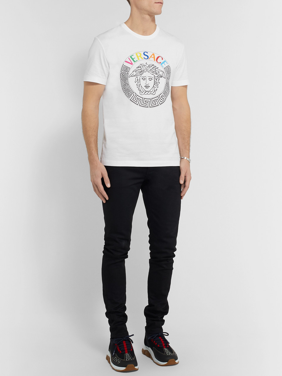 Versace Slim-Fit Logo-Embroidered Printed Cotton-Jersey T-Shirt