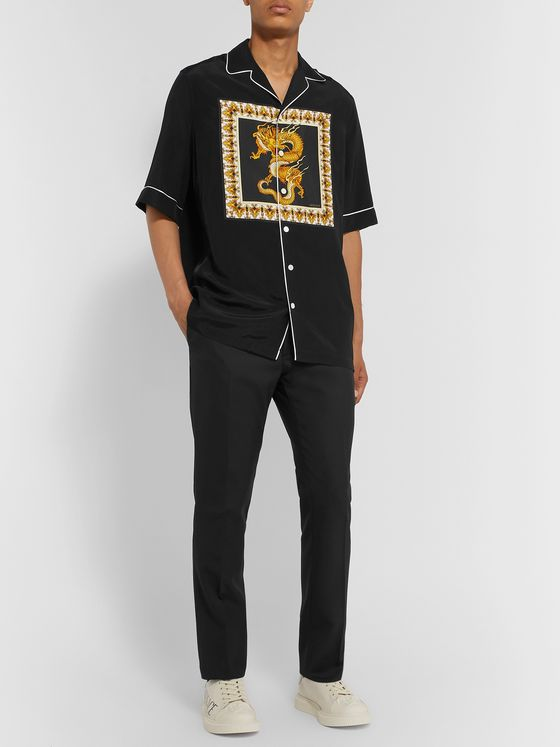 Versace Camp-Collar Printed Twill Shirt