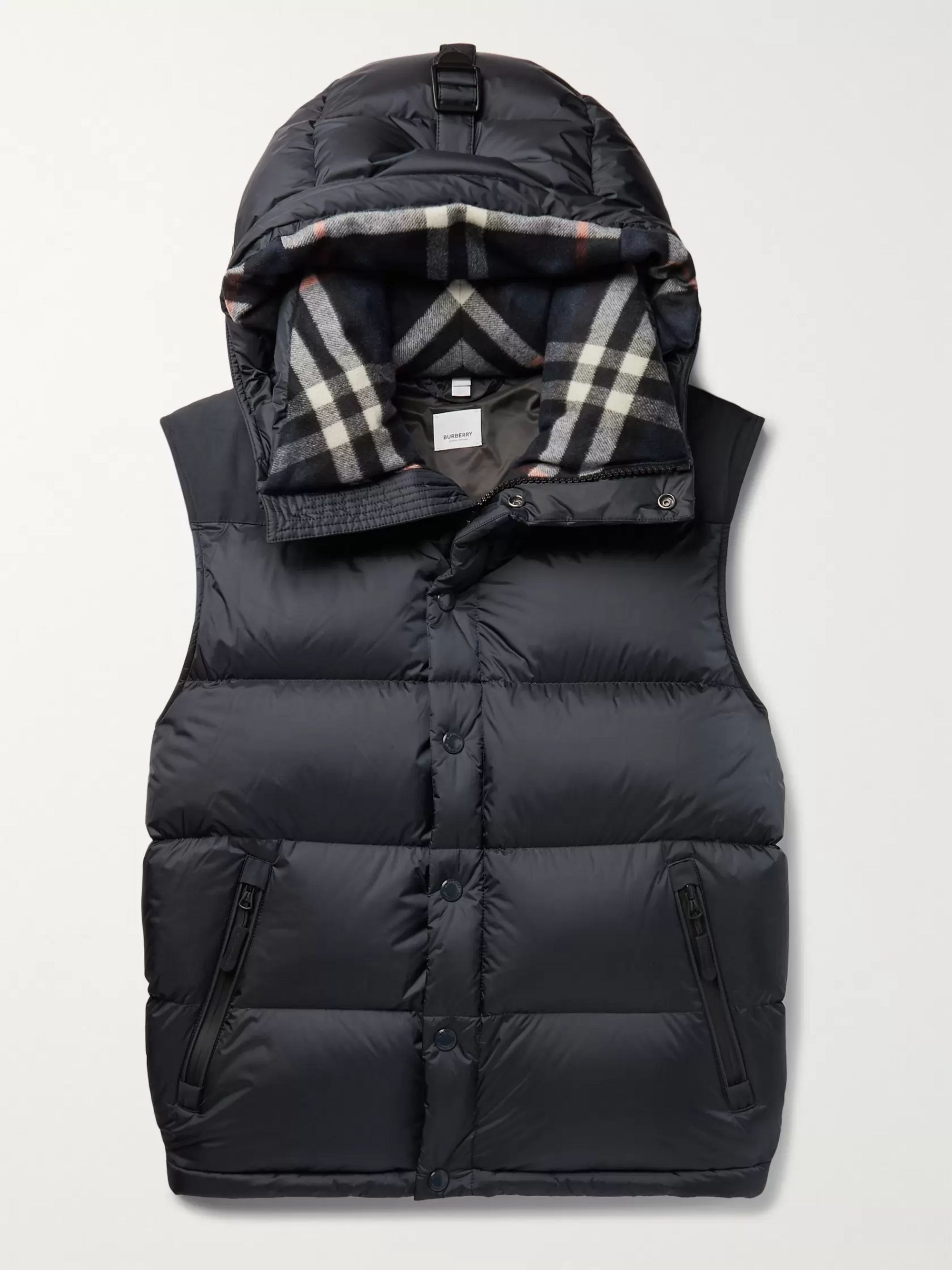 Burberry Hooded Quilted Nylon Down Jacket with Detachable Sleeves