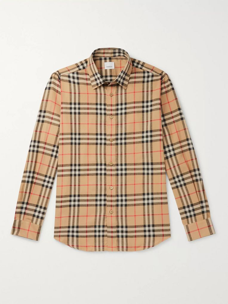 Burberry Checked Cotton-Flannel Shirt