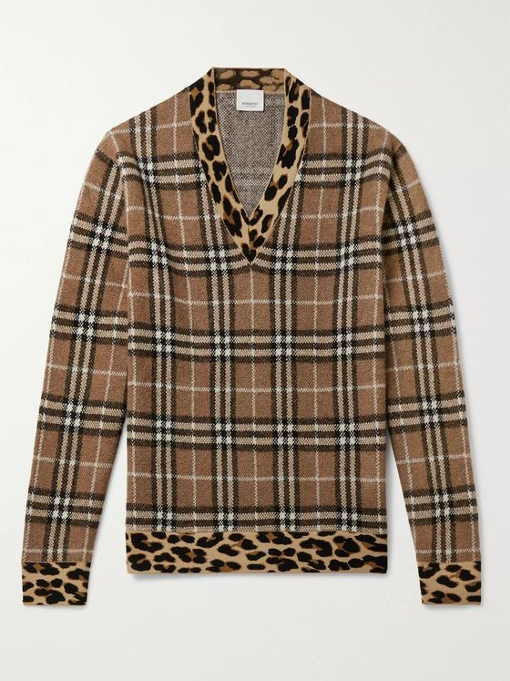 Burberry Leopard-Trimmed Checked Jacquard-Knit Sweater