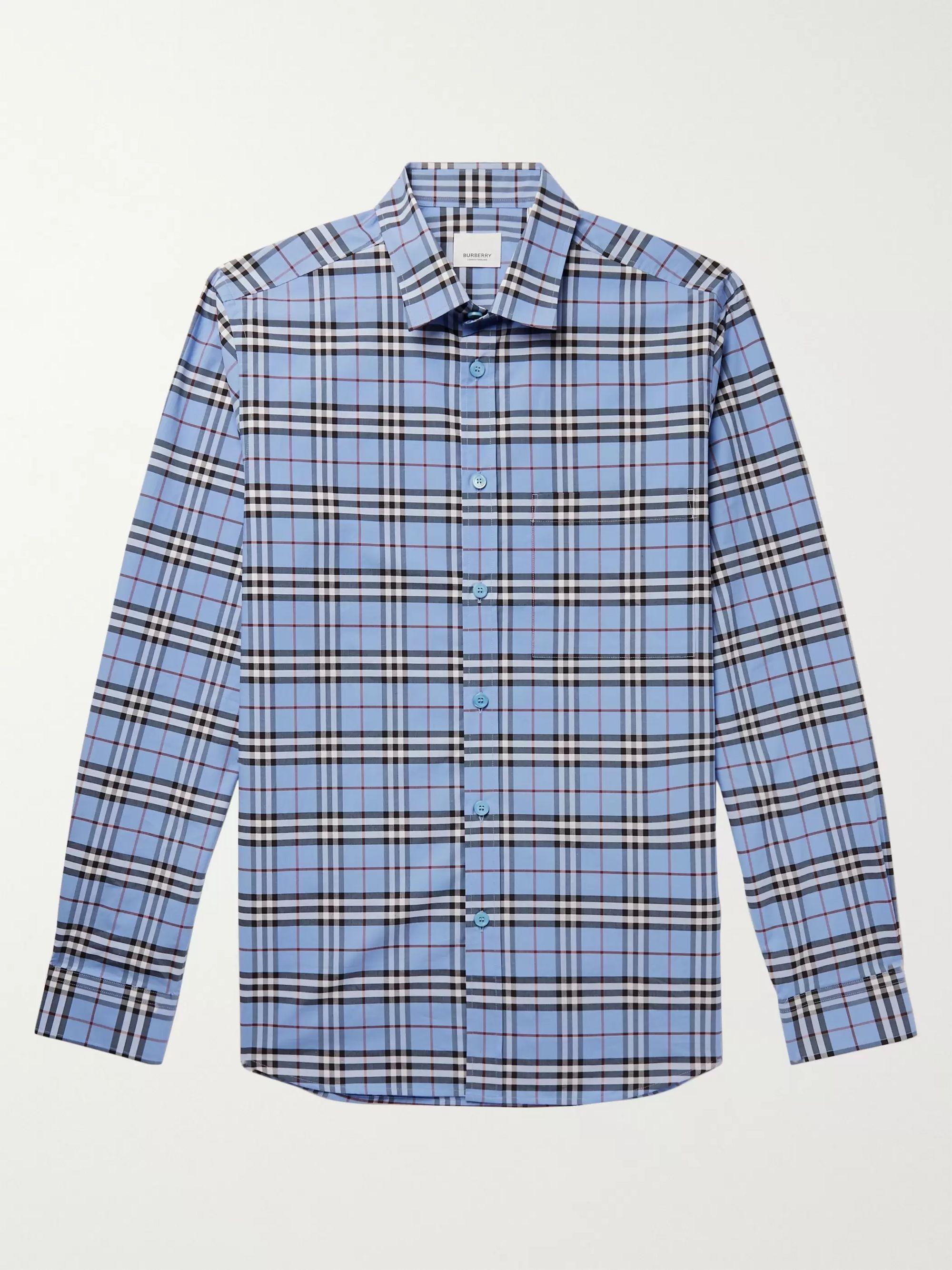 slim-fit-checked-stretch-cotton-poplin-shirt by burberry
