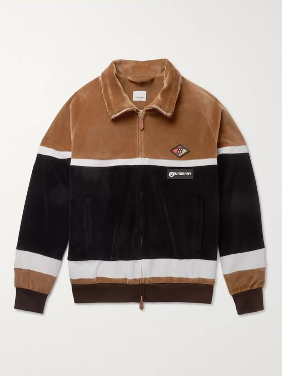 Burberry Logo-Appliquéd Cotton-Blend Velour Track Jacket