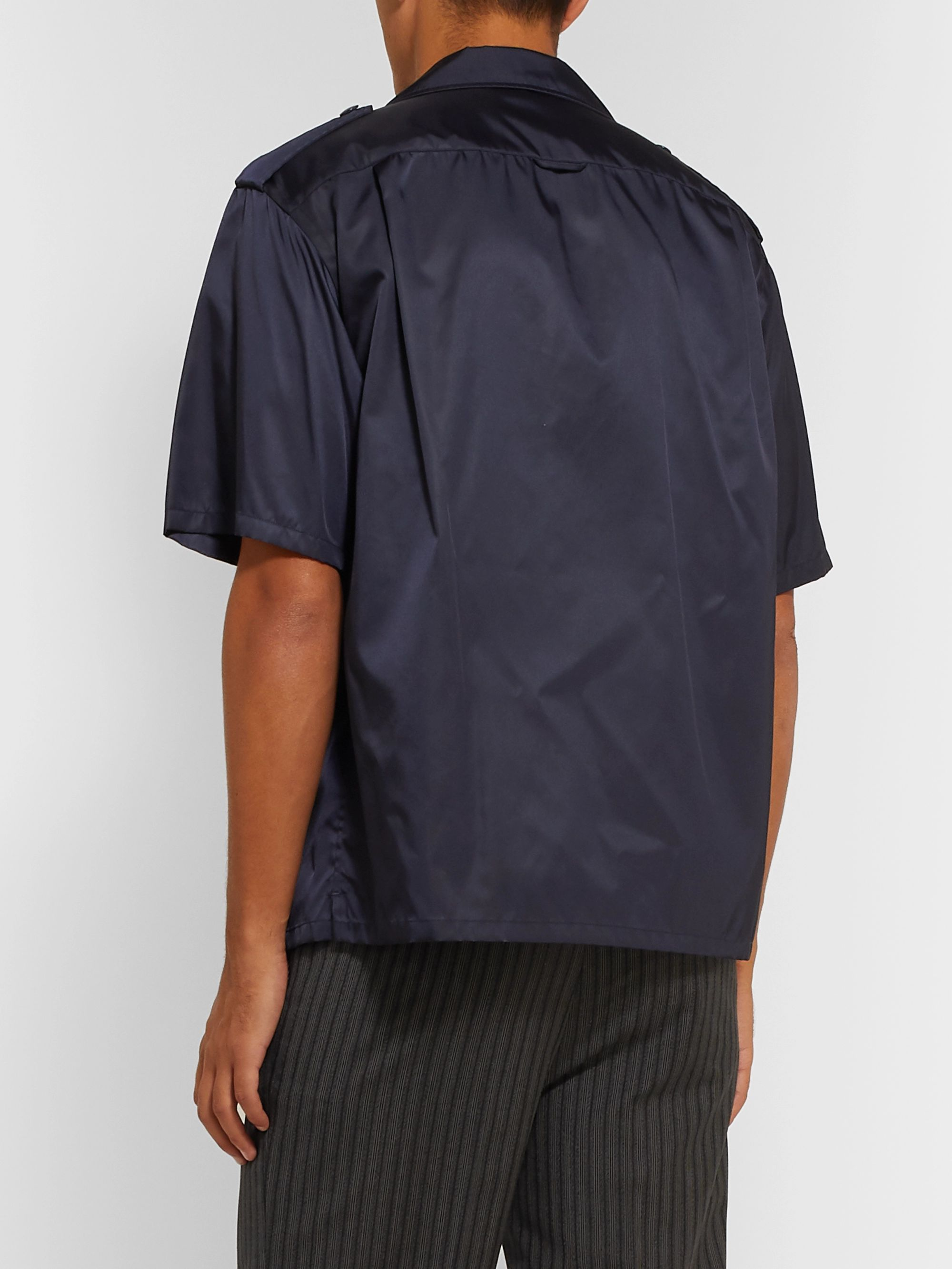 Prada Logo-Appliquéd Camp-Collar Nylon Shirt