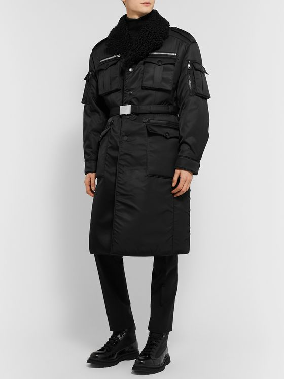 Prada Shearling-Trimmed Belted Padded Nylon-Gabardine Trench Coat