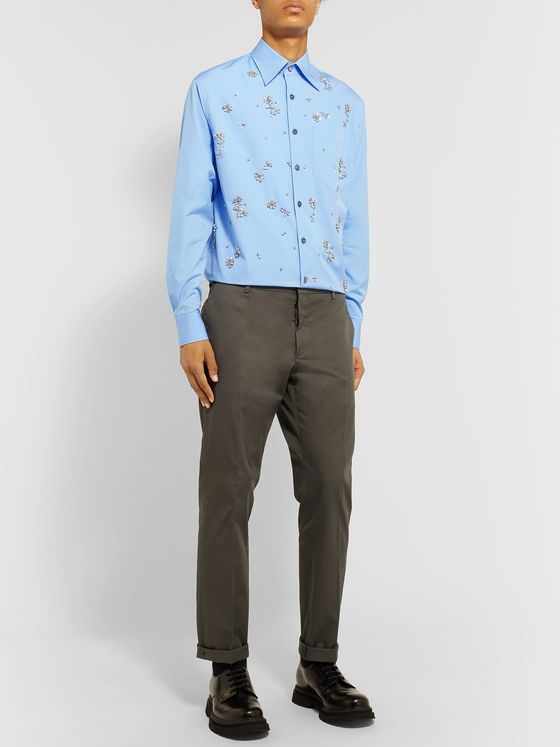Prada Embellished Cotton-Poplin Shirt