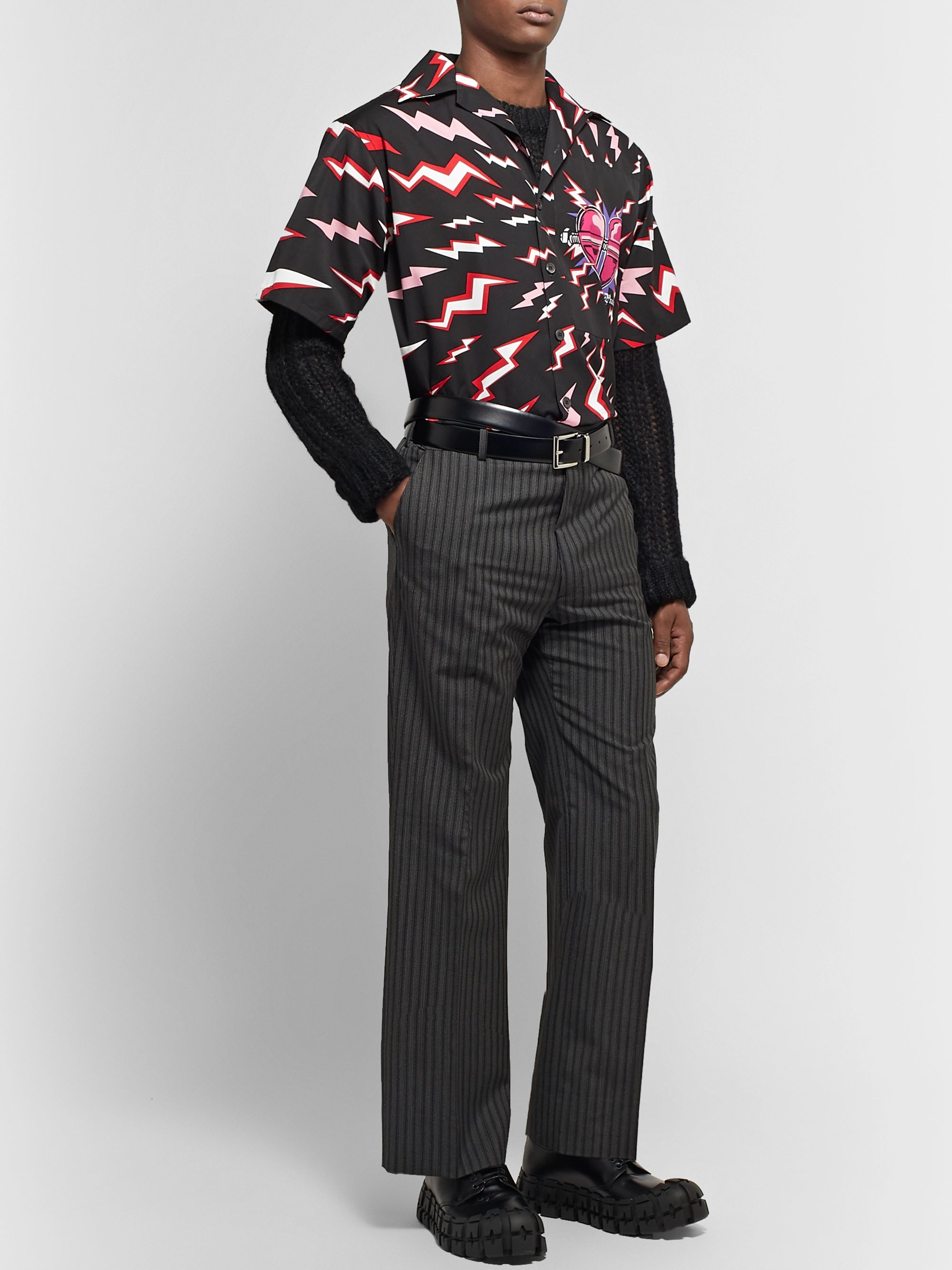 Prada Camp-Collar Printed Cotton-Faille Shirt