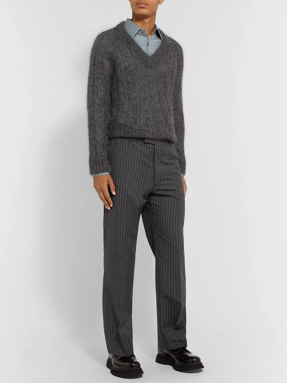 Prada Wide-Leg Pinstriped Virgin Wool and Mohair-Blend Trousers