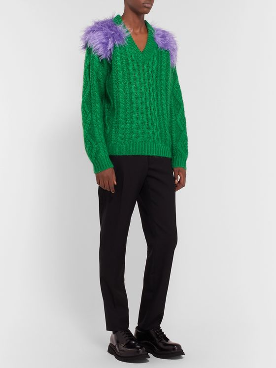 Prada Two-Tone Cable-Knit Mohair-Blend Sweater
