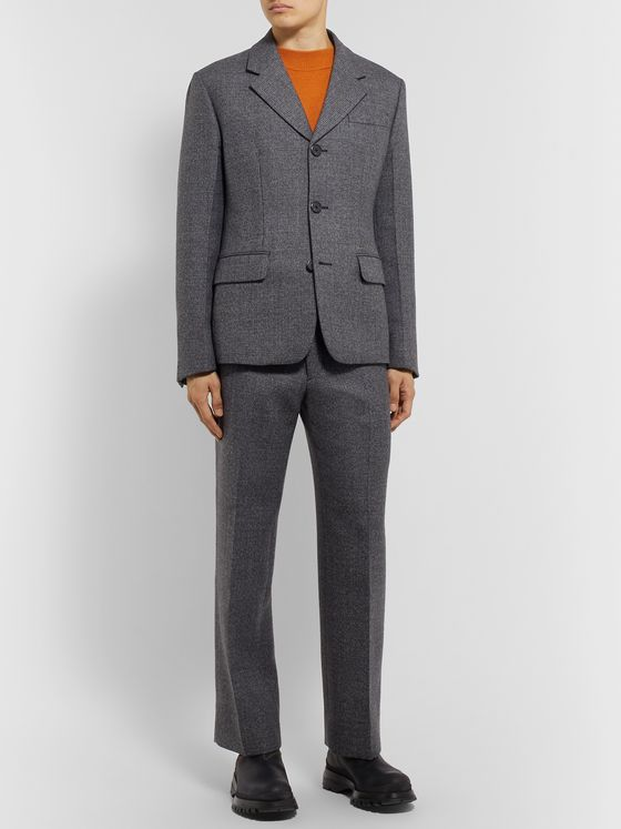 Prada Grey Prince of Wales Checked Virgin Wool-Blend Suit Jacket