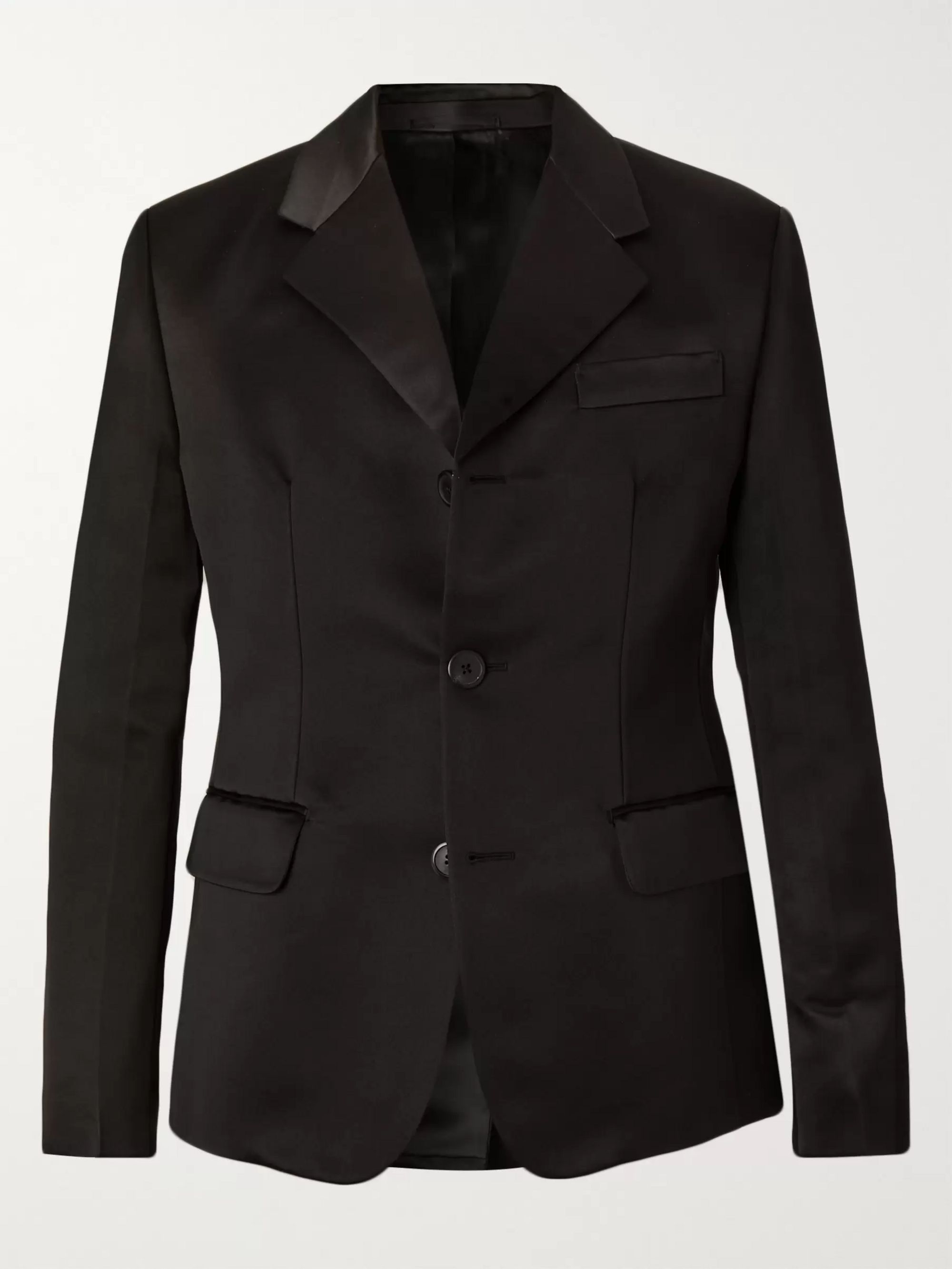 Prada Black Silk-Satin Suit Jacket