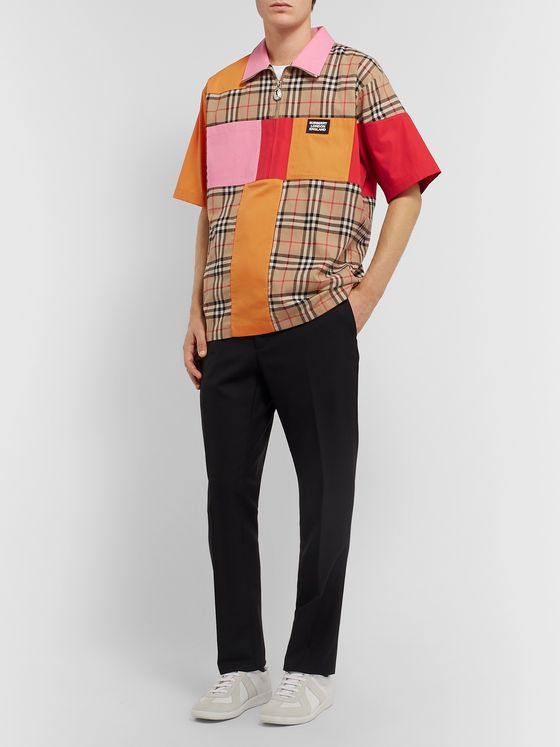 Burberry Patchwork Checked Cotton Half-Zip Shirt