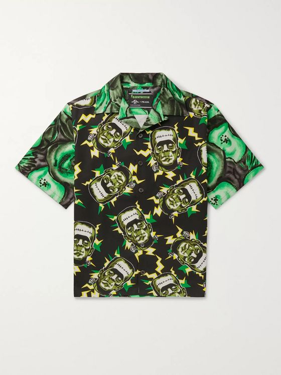 Prada + Universal Oversized Camp-Collar Printed Cotton Shirt