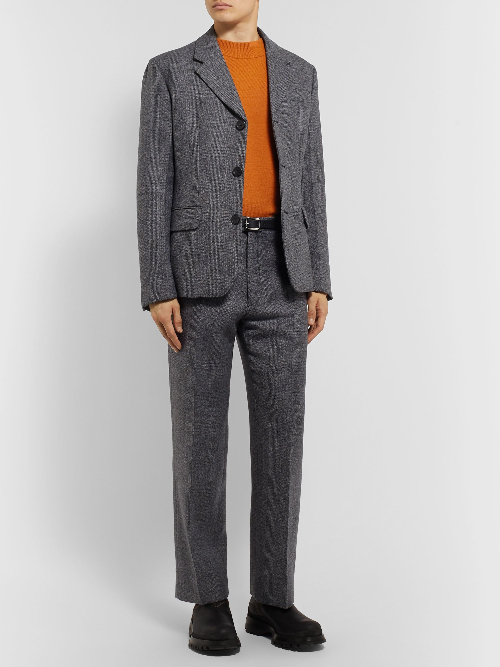 Prada Grey Wide-Leg Prince of Wales Checked Virgin Wool-Blend Suit Trousers