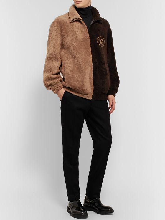 Fendi Logo-Intarsia Colour-Block Shearling Jacket