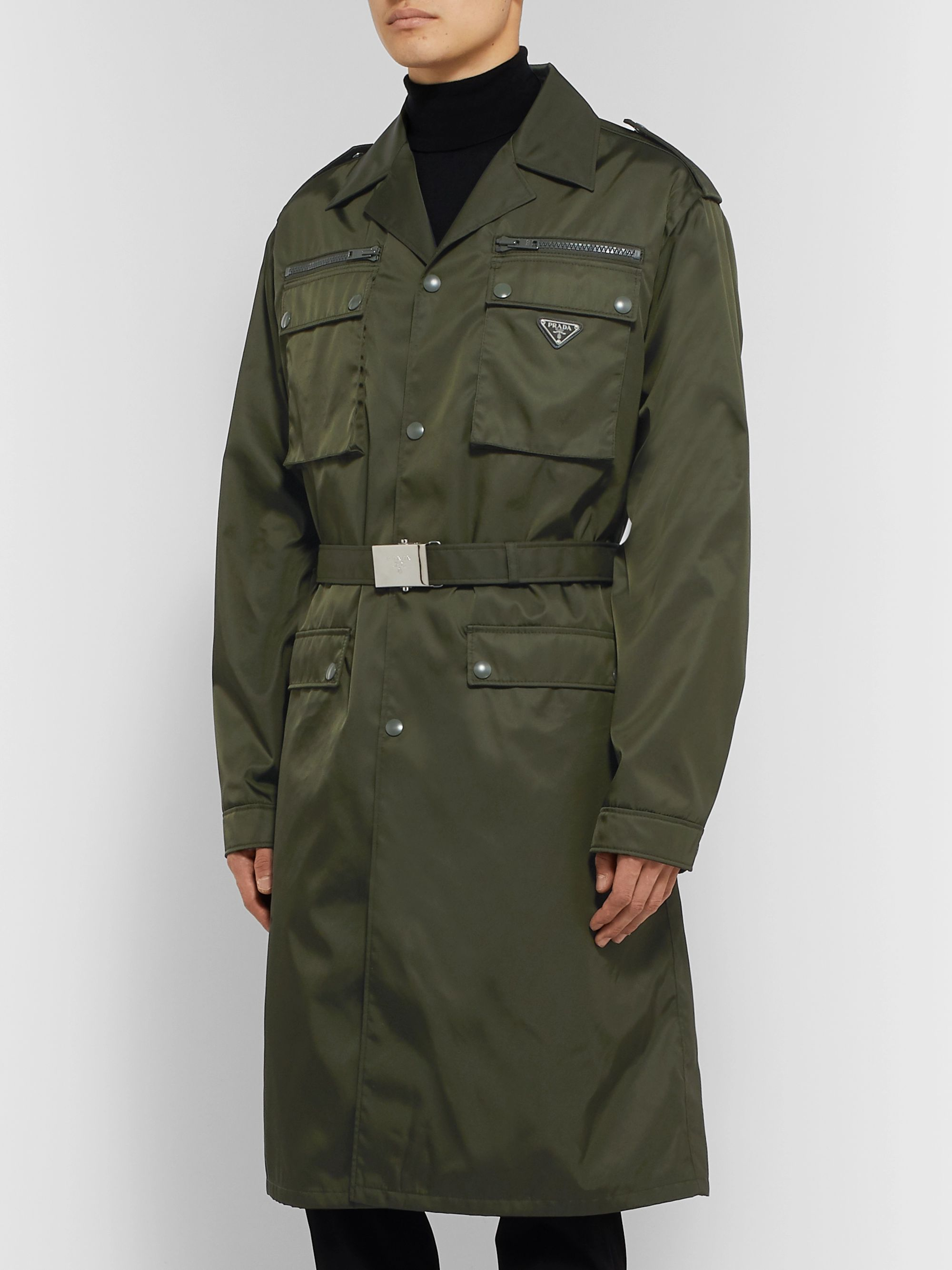 Prada Belted Nylon-Gabardine Trench Coat